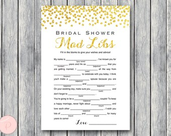 Gold Bridal Shower Mad Libs, Marriage advice cards, Wedding Mad Libs, Bridal Shower Mad Libs, Bridal Mad Libs, Mad lib advice cards TH22