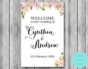 Pink Personalized Welcome wedding sign, Personalized Wedding Sign, Wedding Decoration Sign, Engagement Party sign DIY Print WD67 WS13