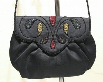 Vintage Beaded Satin Evening Bag