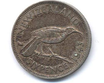 New Zealand George V Silver 1943 Sixpence Coin for the Brides Shoe