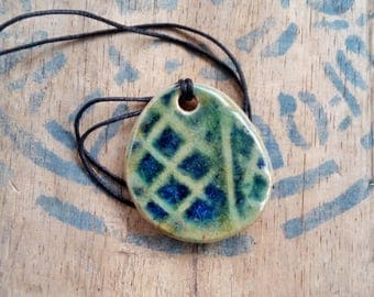 Autumn Collection: Blue Green Pendant Necklace - ceramic jewelry, stone necklace, autumn fashion, rustic jewellery