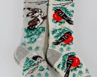 Angora high knee socks, woolen socks, Women's Knit High Knee socks, Angora half-hose, Woolen hosiery, High socks with bright pattern