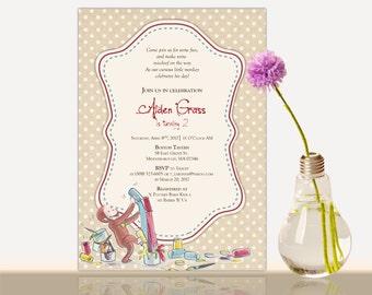 Curious George Birthday Invitation - Curious George invitation - Curious George Birthday Party