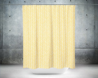 fabric shower curtain yellow and white nature leaves-trees