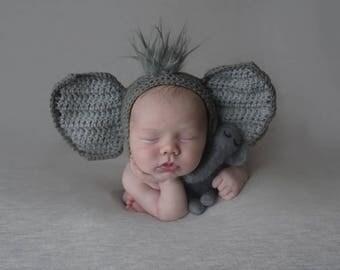 Elephant bonnet, newborn elephant hat, elephant outfit,  elephant costume, photography prop, Newborn circus prop