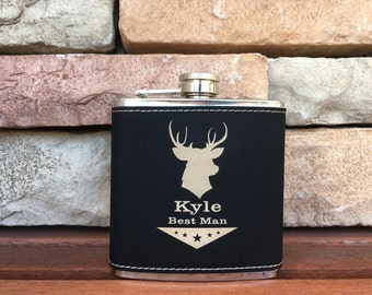 10 Personalized Groomsmen Gifts - Custom Leather Engraved Initial Flasks Liquor Flasks - Groomsman Best Man Groom Gift