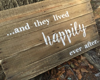And They Lived Happily Ever After sign, pallet sign, Master bedroom sign