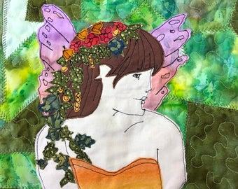 Fairy Garden - Art Quilt by Textile Artist Ami James