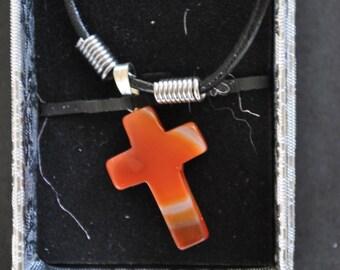 Semi Precious Stone Cross Pendant With Gift Box
