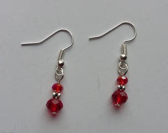 Red Glass Crystal Drop Earrings