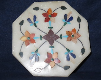 "Small ALABASTER TRINKET Jewellery Box Octagonal INLAID Top and Sides With Mother of Pearl, 4"" x 1"" (#579)"