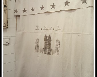 NEW*** Primitive Saltbox House Curtain