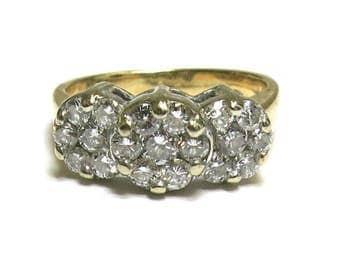 diamond triple circle diamond ring 14k yellow gold