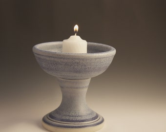 Beautiful frosty blue UU Unitarian Chalice for Weddings, Special Occasions, and Daily Celebration or Ceremony