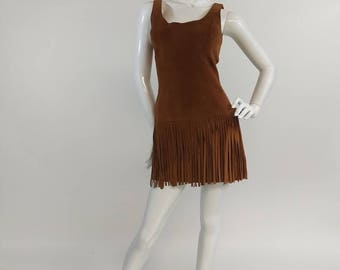 Brown suede Fringe cowgirl party dress