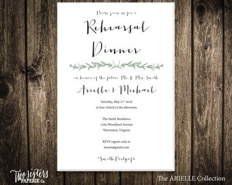 EUCALYPTUS REHEARSAL Dinner Invitation - ARIELLE Collection - Eucalyptus Design - Greenery Rehearsal Dinner