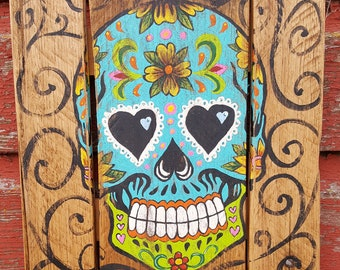 Turquoise Sugar Skull Rustic Pallet Sign