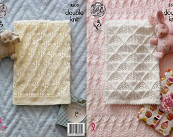 King Cole Knitting Pattern 3506~Pram & Cot Blankets~DK~4 designs