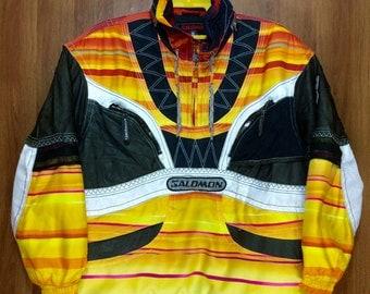 Rare SALOMON Optimal Movement Rainbow Stripes Half Zipper Winter Jacket Adult Unisex Large Size