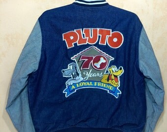 70 Years Pluto A Loyal Friend Disney Varsity Jacket Embroidered
