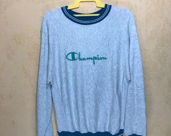 90s Vintage CHAMPION Reverse Weave Three Blend Cotton Polyester Rayon Medium Size Sweatshirt