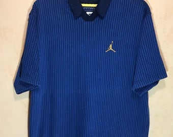 Rare Vintage NIKE JUMPMAN #Jordan Heavy Oversize Polo Shirt Chest 25""