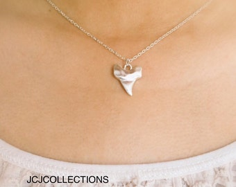 Tiny Silver Matte Shark Tooth Necklace