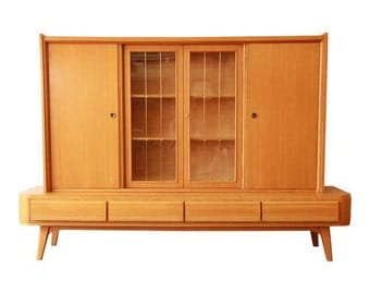 Mid-Century Modern Sideboard With Hutch / East German Sideboard / Glass Front Display Cabinet