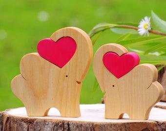 Elephants, wooden elephant figurine love heart, safari nursery decor, father daughter long distance, children best friend, big brother gift