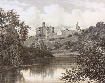 1895 Warkworth Castle, Northumberland Original Antique steel engraving print - Fine Detail - Landscape - Wall Decor - Home Decor