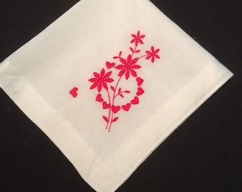 Vintage Floral Wedding Handkerchief, Embroidered Flower Hankerchief, Red Hearts Hankie, Valentines Hanky