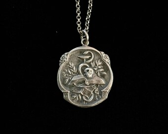 french memento mori skull and snake medallion