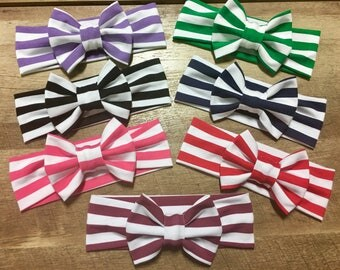 Striped Bow Collection with Matching Fabric Bow