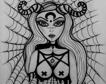 Lilith spider queen art print by Joanna Strange
