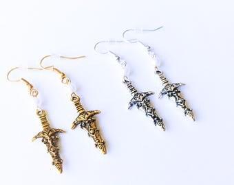 Sword Earrings, Silver Gold Sword Earrings, Dagger Viking Knife Antique Vintage Style Sword Earrings, Statement Dangle Drop Earrings