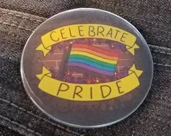 "Celebrate Pride LGBTQ Rainbow Flag 2.25"" Pinback Button"