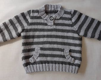 Handmade striped double knit baby jumper