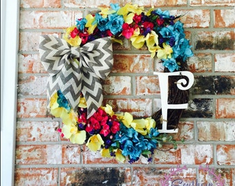 REDUCED! Ready to SHIP! Grapevine Floral Wreath I Spring/Summer Floral Wreath I Floral wreath I Spring wreath I Summer Wreath