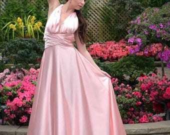 Blush Bridesmaid Long Silk Evening Dress, Open Back Silk Dress, Blush A-Line Silk Dress, Dusty Rose Bridesmaid Dress, Couture Designer Dress