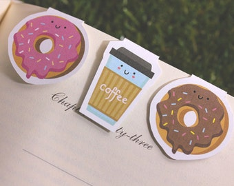 Magnetic Bookmark   Donut + Coffee Break Magnet Bookmarks Pack of 3, Magnetic, Cute, Quirky, Food, Donuts, Bookmarks, Kawaii.