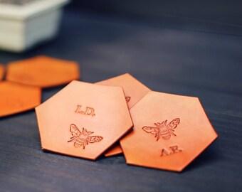 6 Personalized Leather Coasters, Custom Leather Coaster set, Hexagonal Geometric, Handmade housewarming wedding anniversary gift. Honey Bee