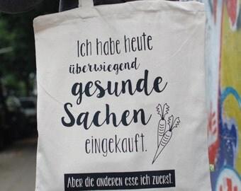 Einkaufsbeutel, Beutel, schwarzer Druck, gesund, Baumwolltasche, Jutebeutel, Henkeltasche, Shopping Bag, Lustiger Beutel, Tasche, Fairtrade