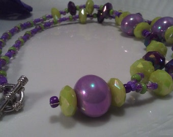 Beaded acrylic necklace, seed bead necklace, purple necklace, lime green necklace