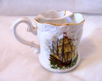Vintage Sail Boat Moustache Mug, Made by Harleigh from Bone China