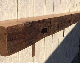 """72"""" Hand-Hewn Reclaimed Old Growth Antique Oak Mantel, Clear Satin Lacquer (Shipping Quoted Separately)"""