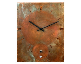 Patina copper clock, Wall clock, Home decor, Original clock, Hand made clock, design clock, clock, rustic clock, clocks