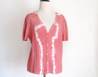 Altered Eco Dyed Short Sleeve Jacket - Hand Dyed - Sandalwood Plant Dye - Size XL - Rosy - Pinkish - Eco Dyed Jacket - Earthy
