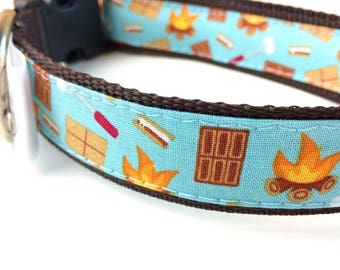 S'Mores Dog Collar | Camping Dog Collar | Hiking Dog Collar | S'Mores Harness & Leash | Summer Adventure Collar | Personalized Dog Collar