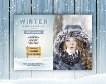 Winter Mini session Template | Photography mini session marketing board  | Photoshop & Elements Template