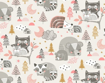 QUILTING COTTON FABRIC Blend Sleepyheads in Pink by Maude Asbury Sold by the 1/2 yard
